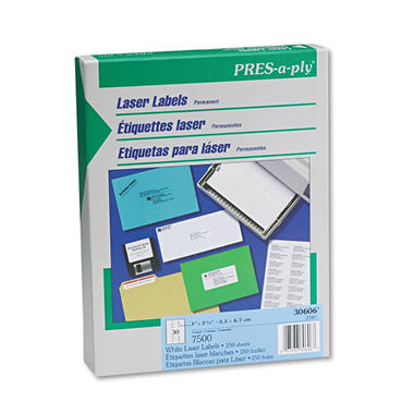 "Avery Pres-A-Ply - Laser Address Labels, 1 x 2-5/8"", White - 7,500 Labels"