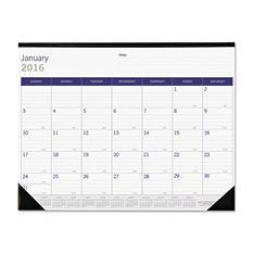 Blueline - Blueline DuraGlobe Monthly Desk Pad Calendar, 22 x 17 -  2016