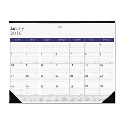Blueline DuraGlobe Monthly Desk Pad Calendar, 22 x 17 -  2015