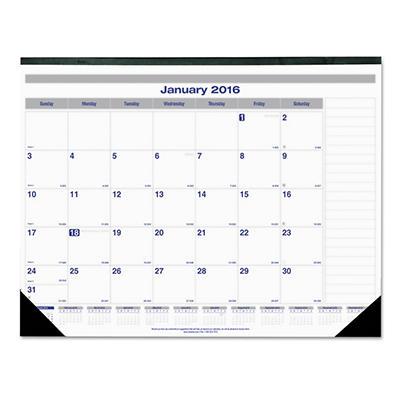 Blueline Net Zero Carbon Desk Pad, 22 x 17, Black Band and Corners -  2015