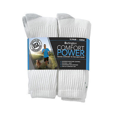 Comfort Power? Men's 10 Pair White Crew Socks