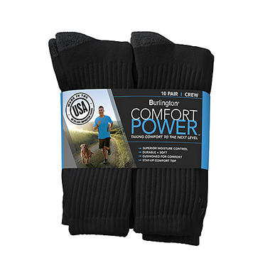Comfort Power? Men's 10 Pair Black Crew Socks