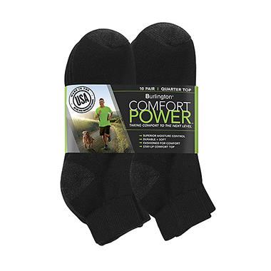 Comfort Power? Men's 10 Pair Black Quarter Top Socks
