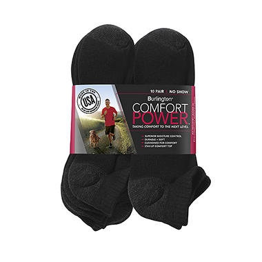 Comfort Power™ Men's 10 Pair Black No Show Socks