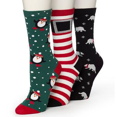 "Burlington Women's 3 Pair ""Tinsel Toes"" Holiday Socks"