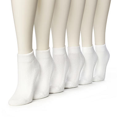 Women's Burlington Perfect Comfort™ Quarter Top Socks - Solid White - 6 pairs