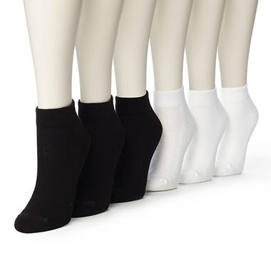 Women's Burlington Perfect Comfort™ Quarter Top Socks - 3 Solid White & 3 Solid Black