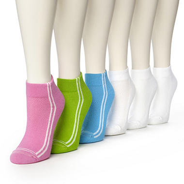 Women's Burlington Perfect Comfort™ Quarter Top Socks - 3 Pair Solid Racer Stripe & 3 Pair Solid White