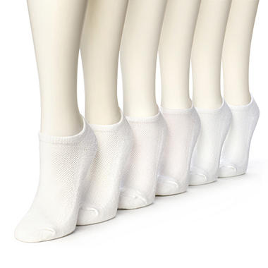 Women's Burlington Perfect Comfort™ Cushioned No Show Socks - Solid White - 6 pairs