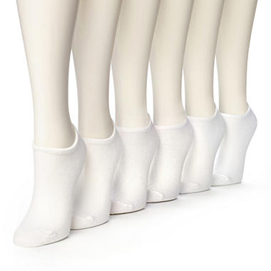 Women's Burlington Perfect Comfort? No Show Liner Socks - Solid White - 6 pairs