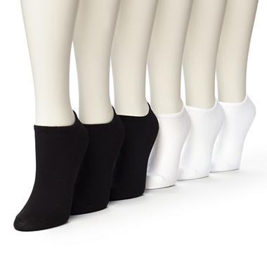 Women's Burlington Perfect Comfort™ No Show Liner Socks - 3 Pair Solid White & 3 Pair Solid Black