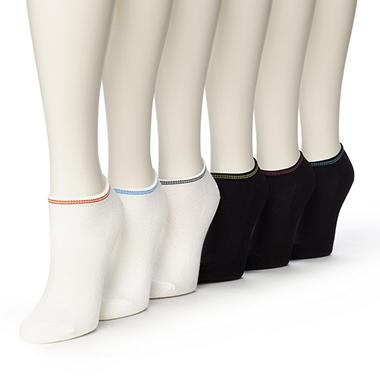 Women's Burlington Perfect Comfort? No Show Liner Socks - 3 White with Tipping Colors & 3 Black with Tipping Colors