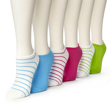 Women's Burlington Perfect Comfort? No Show Liner Socks - 3 White with Stripes & 3 Solid Colors