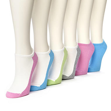 Women's Burlington Perfect Comfort™ No Show Liner Socks - 4 White with Sole Colorblock & 2 Solid Colors