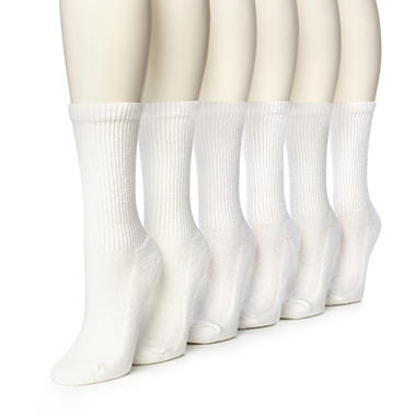 Women's Burlington Perfect Comfort™ Crew Socks - Solid White - 6 pairs