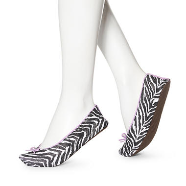Women's June & Daisy 1 Pr Cotton Slippers - Zebra