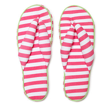Women's June & Daisy Cotton Soft Sole Flip Slipper - Stripe