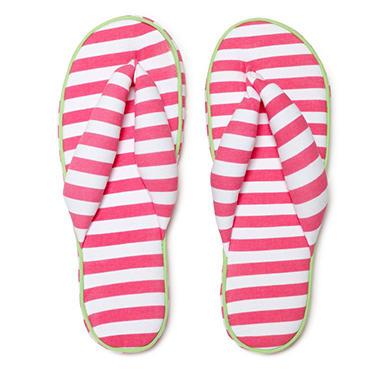 Women's June & Daisy Cotton Soft Sole Flip Slipper - Stripe