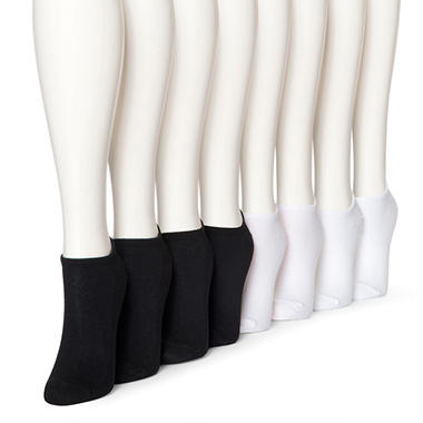Women's Perfect Comfort 8 pairs No Show Liner Socks - Black and White