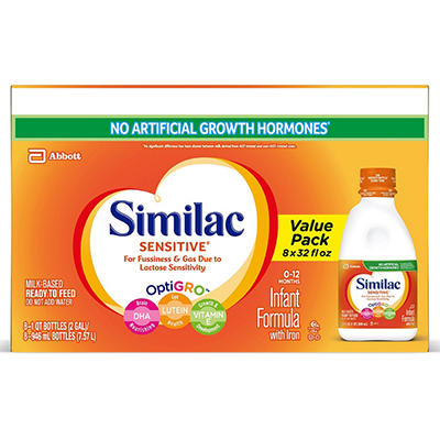 Similac Sensitive Ready to Feed Infant Formula w/Iron (32 oz., 8 pk.)