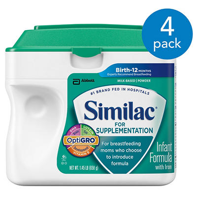 Similac For Supplementation Infant Formula with Iron, (1.45 lb., 4 pk.)