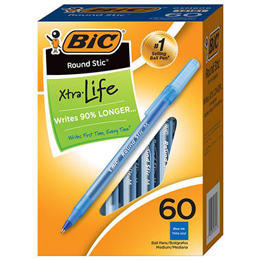 BIC® Round Stic Xtra Precision & Xtra Life Ballpoint, 1mm, Medium, Blue, 60ct.