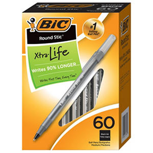 BIC Round Stic Ballpoint Pens, Select Color (Medium, 60 ct.)