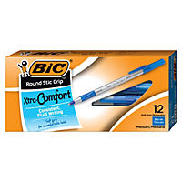 BIC® Round Stic Grip Xtra Comfort Ballpoint Pen, 1.2mm, Medium, Blue, 12pk.