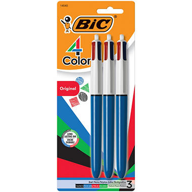 BIC - 4-Color Ballpoint Retractable Pen, Assorted Ink, Medium - 3 Pack