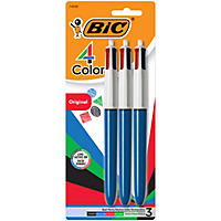 BIC® 4-Color Retractable Ballpoint Pen, 1mm, Medium, 3pk.