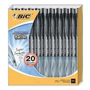 BIC Atlantis Retractable Ball Pen - 20ct Blk