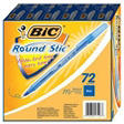 BIC - Round Stic Ballpoint Pen, Blue Ink, Medium - 72 Pens
