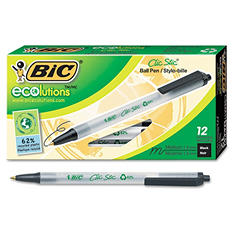 BIC - Ecolutions Clic Stic Ballpoint Retractable Pen, Black Ink, Medium - 12 Pack