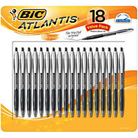 BIC Atlantis Ballpoint Retractable Pen, Medium Point, Black Ink, 18pk.