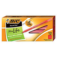 BIC® Round Stic Xtra Precision & Xtra Life Ballpoint Pen, 1mm, Medium, Red, 12pk.