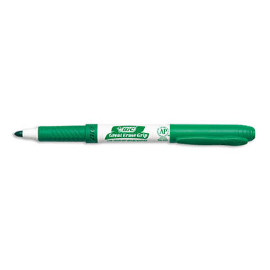 BIC - Great Erase Grip Dry Erase Markers, Fine Point, Green - 12 Pack