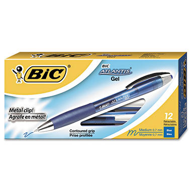 BIC - Atlantis Retractable Gel Pen, Blue Ink, Medium - 12 Pens