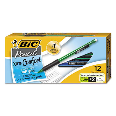 BIC - Matic Grip Mechanical Pencil, HB #2, 0.7 mm - 12 Pencils