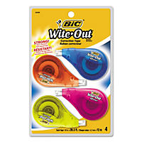 "BIC® Wite-Out EZ Correct Correction Tape, Non-Refillable, 1/6"" x 400"", 4pk."