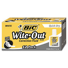BIC® Wite-Out Quick Dry Correction Fluid, 20 ml Bottle, White, 12pk.