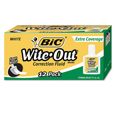 BIC - Wite-Out Extra Coverage Correction Fluid, 20 ml Bottle, White - 12 Pack