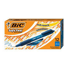 BIC® Soft Feel Retractable Ballpoint Pen, 1mm, Medium, Blue, 12pk.