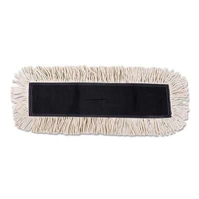 Unisan - Disposable Dust Mop Head w/Sewn Center Fringe, Cotton/Synthetic, 36w x 5d -  White