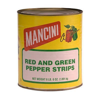 Mancini Red & Green Pepper Strips - 6 lbs. 6 oz.