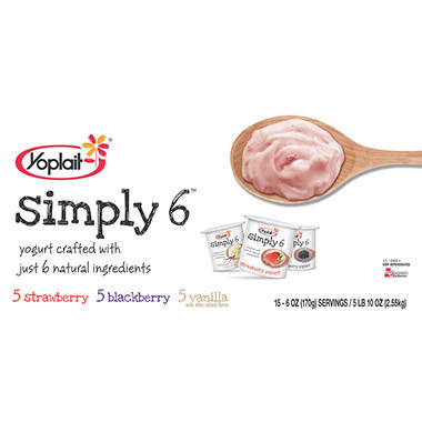 Yoplait� Simply 6 Yogurt, Variety Pack - 15 pk.