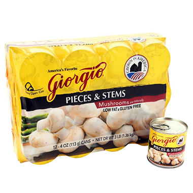 Giorgio Mushroom Pieces and Stems - 12/4 oz.
