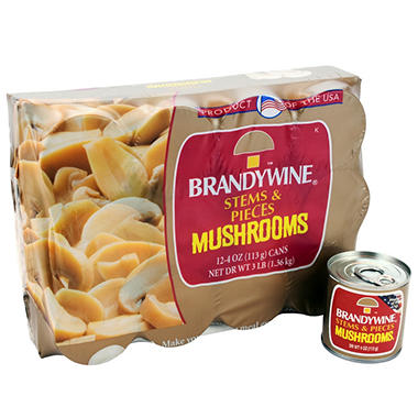 Brandywine Mushroom Pieces and Stems - 12/4 oz.