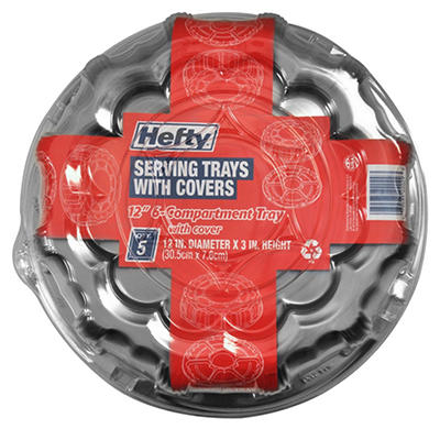 """Hefty 6 Compartment 12"""" Serving Tray with Lid (5 ct.)"""