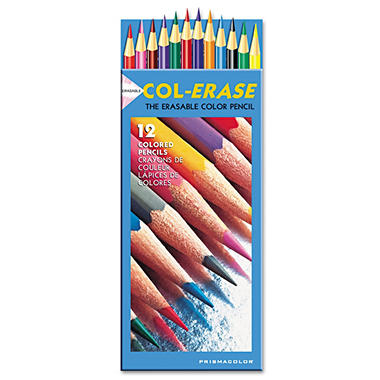 Prismacolor - Col-Erase Colored Woodcase Pencils with Eraser - 12 Pencils