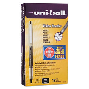 uni-ball - Vision Needle Roller Ball Stick Liquid Pen, Black Ink, Fine - 12 Pens